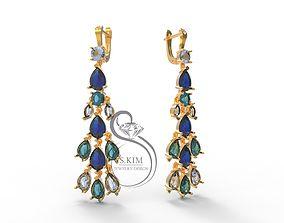 Earrings peacock tail 3D print model