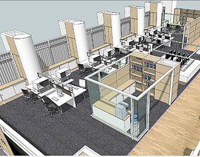 3D Modern minimalist large office space