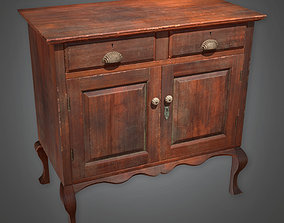 3D asset Two-Door Wooden Cabinet Antiques - ATQ - PBR Game