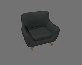 3D asset game-ready Black Armchair