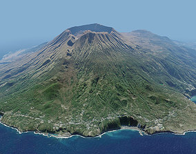 3D Volcano Island Mountains - Miyake island and Tori-shima