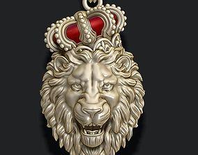 3D printable model Lion pendant with crown v4