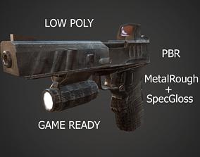 Pistol Handgun automatic Gun 3D model rigged realtime