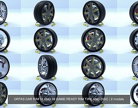 3D model ORTAS CAR RIM 17 AND 18 GAME READY RIM TIRE AND