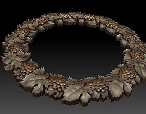 3D Decorative frame with Grapes and Leaves