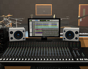 Recording Studio With Music Instruments 3D