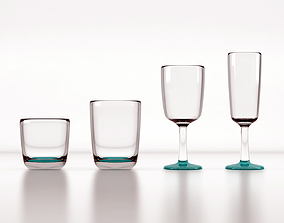 Glassware 3D model game-ready