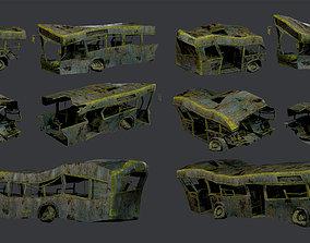 3D asset 3 Apocalyptic Damaged Destroyed Vehicle Bus 3