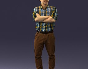 Man in trousers and checked shirt 0237 3D Print Ready