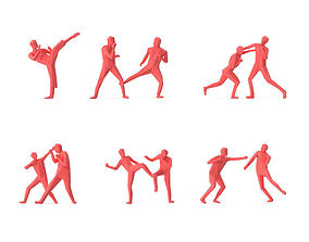3D asset Low Poly Posed People Pack 15 - Fight