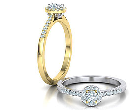 3D print model Round Halo Engagement ring 0082