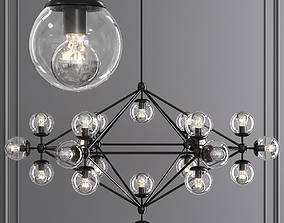 Modo 6 Sided Chandelier 21 Globes Black and Clear Glass 3D