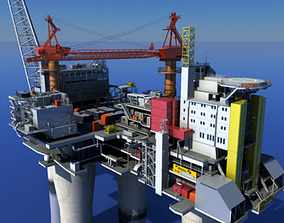 animated 3d Oil Gas Platform 3D model