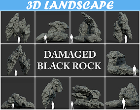 Low poly Damaged Black Rock Pack B-190429 3D