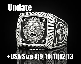 silver Ring lion Update 3D printable model