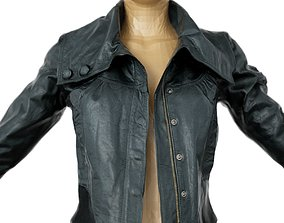 3D model Jacket Black Shiny Collar open Clothing Women