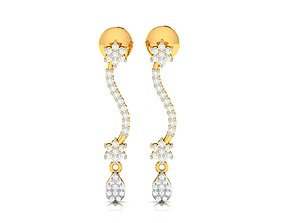 silver Women earrings 3dm render detail