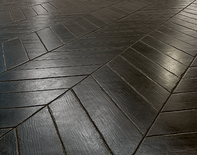 Black Worn chevron parquet - PBR texture - 3D low-poly