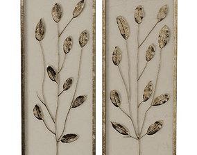3D Gold Leaf and Linen Panels Artwork