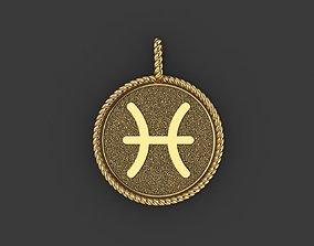 Pisces Zodiac Sign Pendant 3D printable model