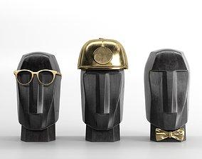 3D Marble Head Trips Sculptures