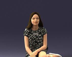 3D Sitting girl 1016-3