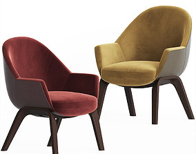 Thonet Fabric easy chair with Armrests 3D model