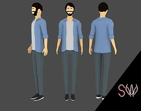 3D model Low-poly Man Casual Clothes 2