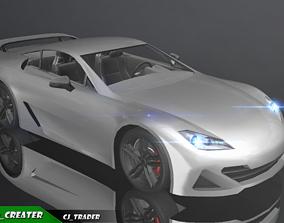Low-Poly Lexus LFA White Racing Car 3D VR / AR ready
