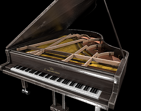 3D asset Old Piano