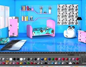 3D Panda Theme Game Ready Cartoon Child Furnished Bedroom