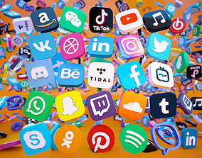 3D model 25 Social Media Icon - YouTube Facebook