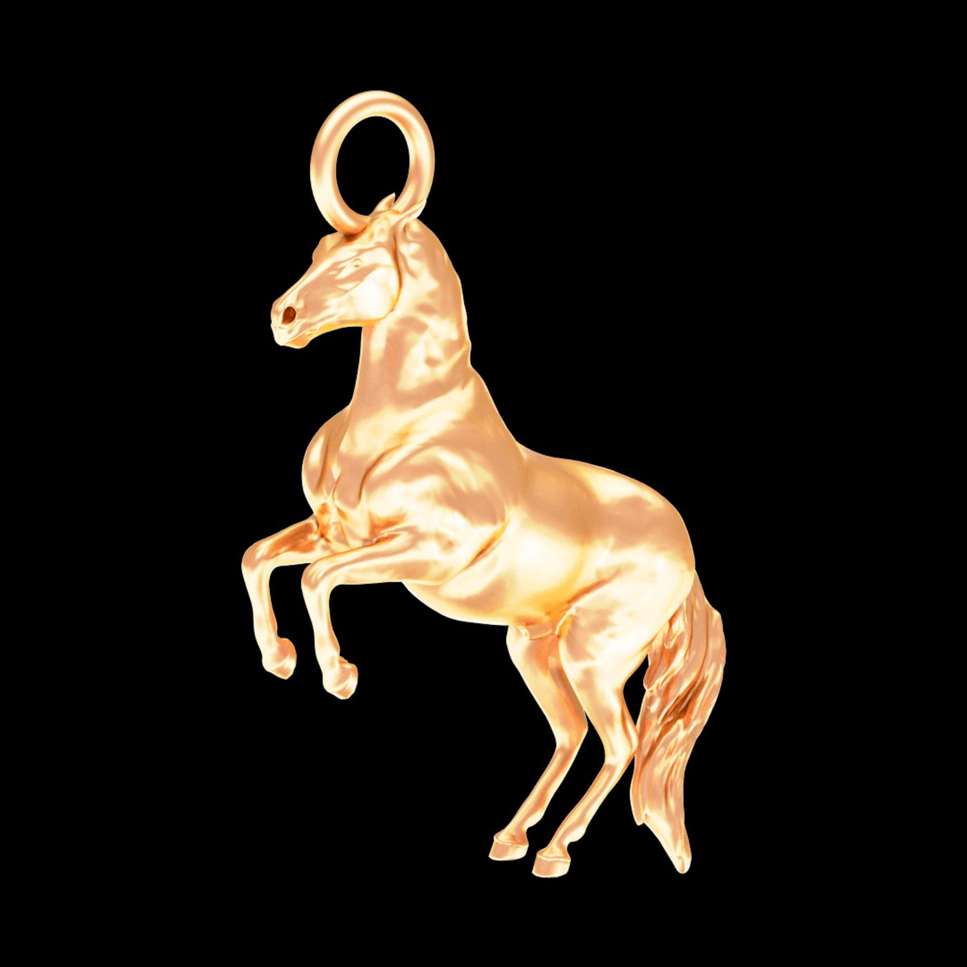 War Horse Sculpture Pendant jewelry Gold 3D print model