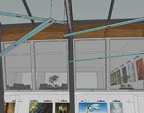 Modern deconstruction museum interior design 3D model