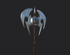 game-ready Large double-edged battle axe with a spear 3