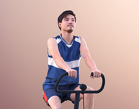 Andy 11139 - Man Training On Bike In Gym Cycle 3D asset
