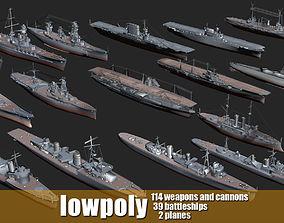 3D asset Battleship Set Vol01 LowPoly GameModel