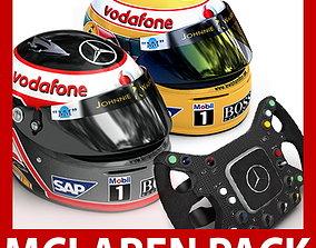 F1 2007 McLaren Mercedes Helmets and Steering 3D model