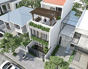 House design 3d model animated exterior