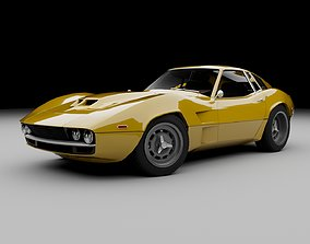 3D asset 70s muscle-sports coupe