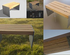3D model low-poly Park Bench 8 Oak Metal Frame 3