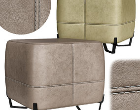 realtime Square leather pouf low poly 3d model
