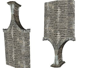 Gatehouse 01 With Arches Pillar 01 3D model
