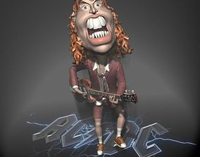 Angus Young ACDC 3D character toon animated