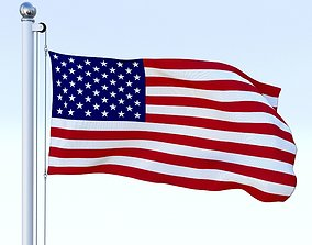 3D model Animated US Flag