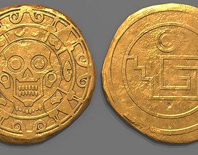 Aztec Design Gold Coin - Pirate Coin - Fantasy 3D model