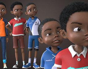 AFRO BOY- CARTOON RIGGED BLACK BOY 3D model