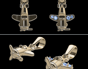 Dainty Airplane Pendant Set with Diamonds 3D print model