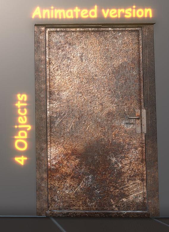 Animated Metal Door Version 3 Rusty (Blender-2.93)