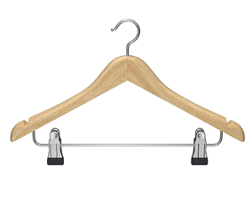 3D Wooden Clothes Hanger with Clips